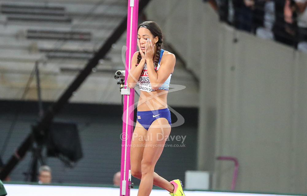 London, August 12 2017 . Katarina Johnson-Thompson, Great Britain, goes out of the women's high jump final on day nine of the IAAF London 2017 world Championships at the London Stadium. © Paul Davey.