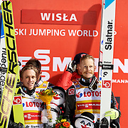 Poland, Wisla Malinka - 2017 November 18: Norway's team celebrate their victory at Men&rsquo;s Team HS134 competition during FIS Ski Jumping World Cup Wisla 2017/2018 - Day 2 at jumping hill of Adam Malysz on November 18, 2017 in Wisla Malinka, Poland.<br /> <br /> Mandatory credit:<br /> Photo by &copy; Adam Nurkiewicz<br /> <br /> Adam Nurkiewicz declares that he has no rights to the image of people at the photographs of his authorship.<br /> <br /> Picture also available in RAW (NEF) or TIFF format on special request.<br /> <br /> Any editorial, commercial or promotional use requires written permission from the author of image.