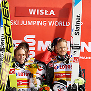Poland, Wisla Malinka - 2017 November 18: Norway's team celebrate their victory at Men's Team HS134 competition during FIS Ski Jumping World Cup Wisla 2017/2018 - Day 2 at jumping hill of Adam Malysz on November 18, 2017 in Wisla Malinka, Poland.<br /> <br /> Mandatory credit:<br /> Photo by © Adam Nurkiewicz<br /> <br /> Adam Nurkiewicz declares that he has no rights to the image of people at the photographs of his authorship.<br /> <br /> Picture also available in RAW (NEF) or TIFF format on special request.<br /> <br /> Any editorial, commercial or promotional use requires written permission from the author of image.