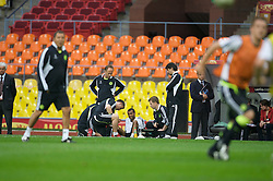 MOSCOW, RUSSIA - Tuesday, May 20, 2008: Chelsea's Ashley Cole is treated for an injury during training ahead of the UEFA Champions League Final against Manchester United at the Luzhniki Stadium. (Photo by David Rawcliffe/Propaganda)