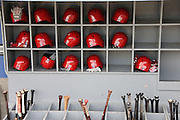 LOS ANGELES, CA - JUNE 30:  The Philadelphia Phillies batting helmets and bats are lined up in bins before the game against the Los Angeles Dodgers on Sunday, June 30, 2013 at Dodger Stadium in Los Angeles, California. The Dodgers won the game 6-1. (Photo by Paul Spinelli/MLB Photos via Getty Images)