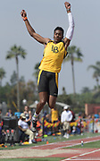 Mar 18, 2017; Los Angeles, CA, USA: Kemonie Briggs of Long Beach State wins the long jump at 25-10 1/4 (7.88m) during the Trojan Invitational at Cromwell Field.