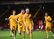 Preston North End forward Paul Gallagher celebrates his goal during the Sky Bet Championship match between Charlton Athletic and Preston North End at The Valley, London, England on 20 October 2015. Photo by David Charbit.