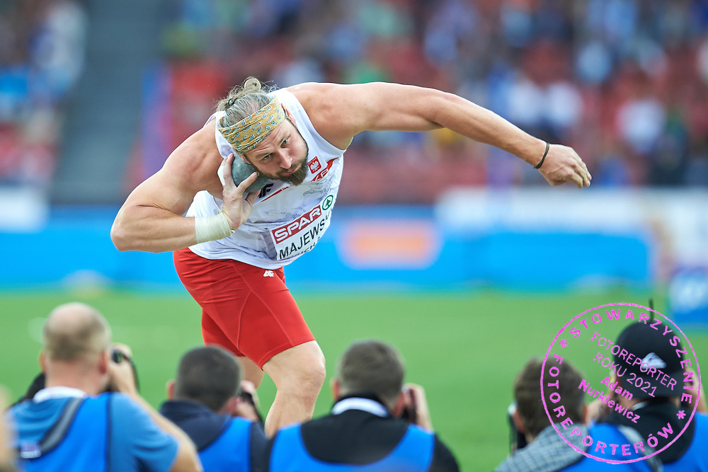 Tomasz Majewski of Poland competes in men's shot put final during the First Day of the European Athletics Championships Zurich 2014 at Letzigrund Stadium in Zurich, Switzerland.<br /> <br /> Switzerland, Zurich, August 12, 2014<br /> <br /> Picture also available in RAW (NEF) or TIFF format on special request.<br /> <br /> For editorial use only. Any commercial or promotional use requires permission.<br /> <br /> Photo by &copy; Adam Nurkiewicz / Mediasport