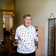 June 1, 2016 - New York, NY : The Missionary Sisters of the Immaculate Heart of Mary (I.C.M.)  are selling their 25-bedroom, two-story, combined two-townhome property located at 236 East 15th Street. Here, Sister Rosemary Cicchitti, who used to live in the building, poses for a portrait in the room she used to call home.  CREDIT: Karsten Moran for The New York Times
