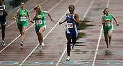 05/13/2009 - Jefferson's Deanna Emanuel (150) pulls away from the field while winning the women's 100 meter dash. The 5A PIL Varsity District Track Meet takes place at Lewis and Clark College....KEYWORDS:  City, Portland, high school, girls, boys, run, field, sports