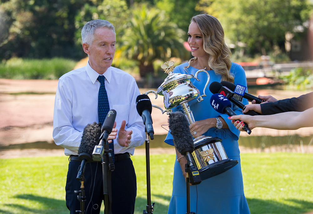 Caroline Wozniacki of Denmark with Craig Tiley after winning the 2018 Australian Open at Rod Laver Arena in Melbourne, Australia on Sunday morning January 28, 2018.<br /> (Ben Solomon/Tennis Australia)