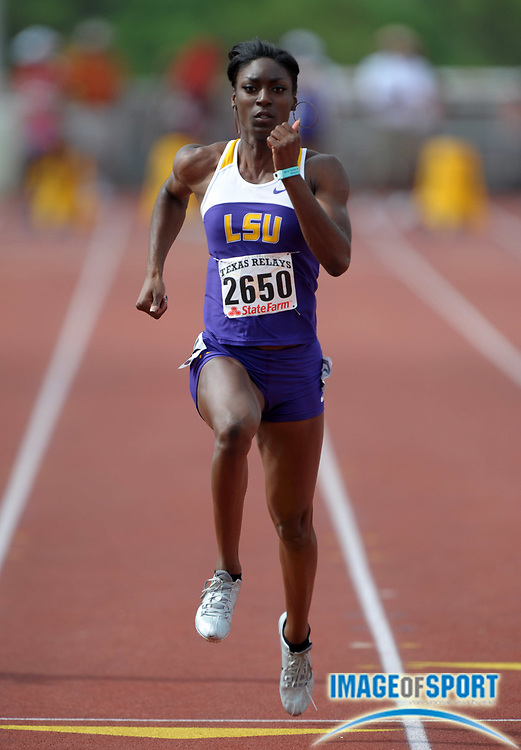 Mar 30, 2012; Austin, TX, USA; Kimberlyn Duncan of LSU wins womens 100m heat in 11.26 in the 85th Clyde Littlefield Texas Relays at Mike A. Myers Stadium.