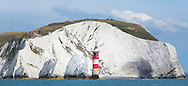 The Needles rocks and lighthouse on the Isle of Wight. Picture date: Sunday August 16, 2015.<br /> Photograph by Christopher Ison &copy;<br /> 07544044177<br /> chris@christopherison.com<br /> www.christopherison.com