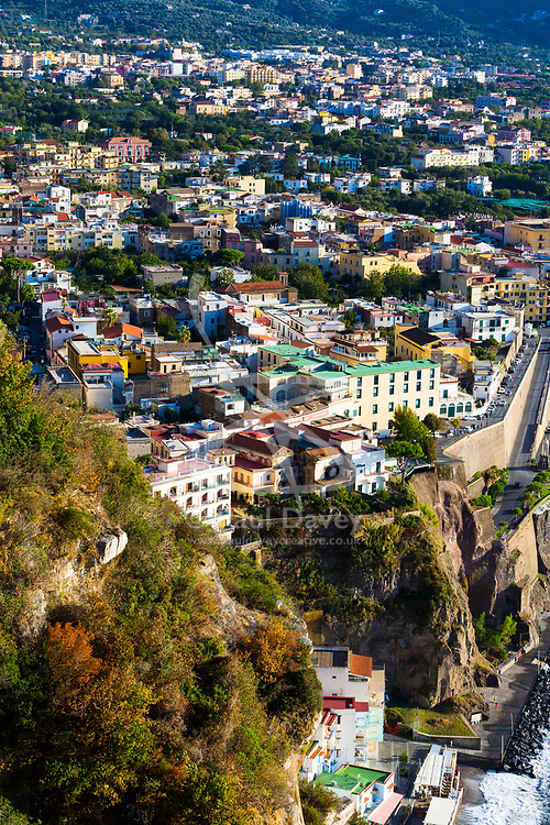 Sorrento, Italy, September 17 2017. The town of Meta near Sorrento on the Bay of Naples in southern Italy, is illuminated by the late afternoon sun.© Paul Davey
