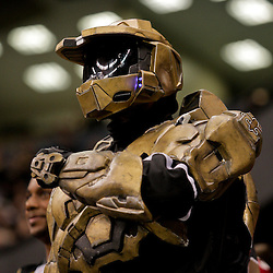 2009 October 18: A New Orleans Saints fan dressed as Master Chief from the video game Halo in the stands during a 48-27 win by the New Orleans Saints over the New York Giants at the Louisiana Superdome in New Orleans, Louisiana.