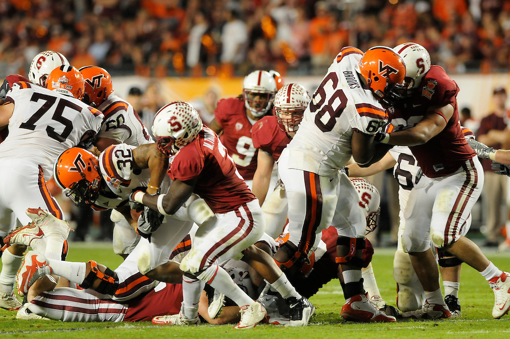 January 3, 2011: Stanford Cardinal vs Virginia Tech Hokies at the 2011 Orange Bowl in Miami Gardens, Florida. Stanford defeated Virginia Tech 40-12.