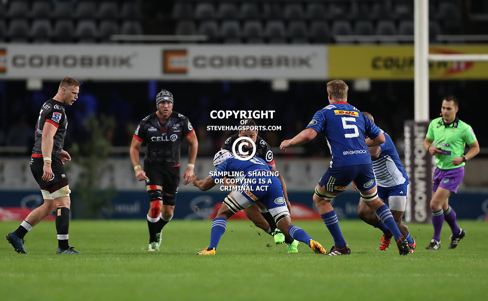 DURBAN, SOUTH AFRICA - MAY 27: Nizaam Carr of the DHL Stormers looks to tackle Coenie Oosthuizen of the Cell C Sharks during the Super Rugby match between Cell C Sharks and DHL Stormers at Growthpoint Kings Park on May 27, 2017 in Durban, South Africa. (Photo by Steve Haag/Gallo Images)