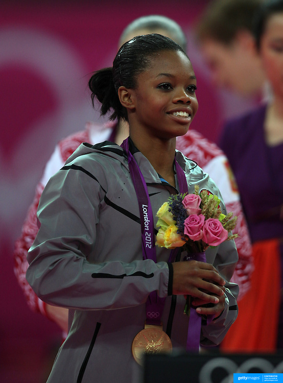 Gabrielle Douglas, USA, winning the Gold Medal in the Women's Individual All Round competition during the artistic gymnastic competition at North Greenwich Arena during the London 2012 Olympic games London, UK. 2nd August 2012. Photo Tim Clayton
