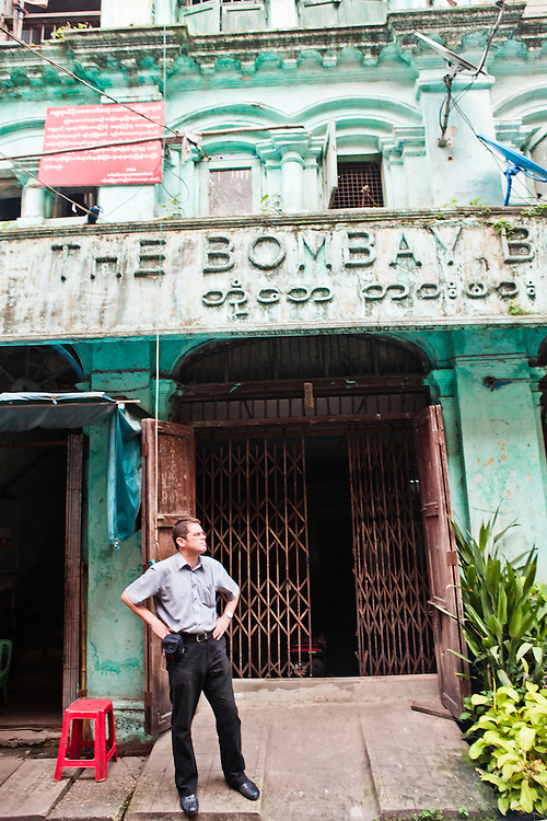 """Tony Picon in front of former office of Bombay Printing Company in'""""little India, """"Yangon, Myanmar."""