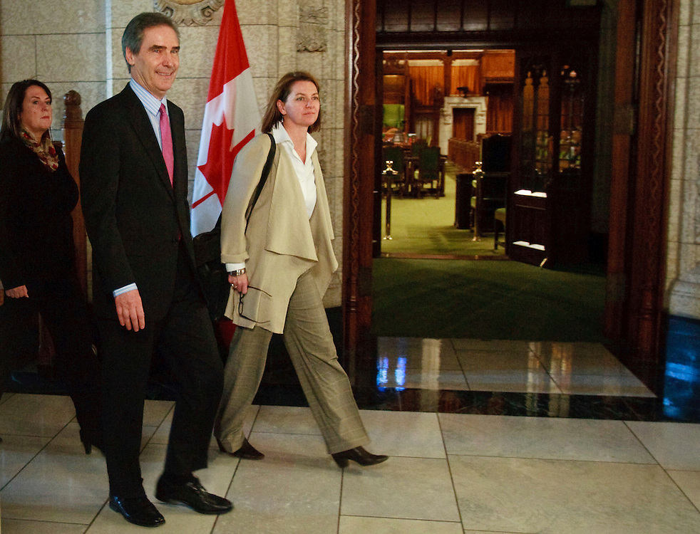 Liberal leader Michael Ignatieff arrives for a press conference in the foyer of the House of Commons in Ottawa, Canada following the fall of the Conservative government in a non confidence vote March 25, 2011. Canadians will be heading to the polls in May.<br /> AFP/GEOFF ROBINS/STR