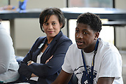 Dr. Eboni Pringle, Dean of the University College, listens to a student discussion during a welsom event for diverse students being held in the Center for Undergraduate Excellence.