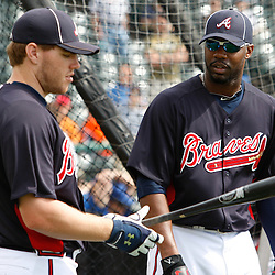 March 5, 2011; Lake Buena Vista, FL, USA; Atlanta Braves right fielder Jason Heyward (22) and first baseman Freddie Freeman (5) talk during batting practice before a spring training exhibition game against the New York Mets at Disney Wide World of Sports complex.  Mandatory Credit: Derick E. Hingle