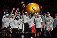 The San Antonio Spurs celebrate after winning the championshp by sweeping the Cleveland Cavaliers in four games in the 2007 NBA Finals.
