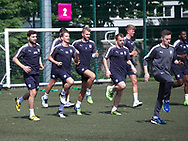 The Dundee squad warm up during pre-season testing at University Grounds, Riverside, Dundee, Photo: David Young<br /> <br />  - &copy; David Young - www.davidyoungphoto.co.uk - email: davidyoungphoto@gmail.com