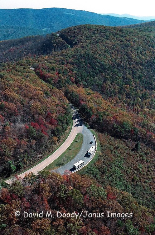 Scenic Aerial view in the fall season of Skyline Drive National Park, Shenandoah Mountains, Virginia