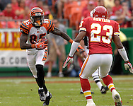 October 14, 2007 - Kansas City, MO..Wide receiver Chad Johnson #85 of the Cincinnati Bengals rushes up field against pressure from Patrick Surtain #23 of the Kansas City Chiefs, during a NFL football game at Arrowhead Stadium in Kansas City, Missouri on October 14, 2007...FBN:  The Chiefs defeated the Bengals 27-20.  .Photo by Peter G. Aiken/Cal Sport Media