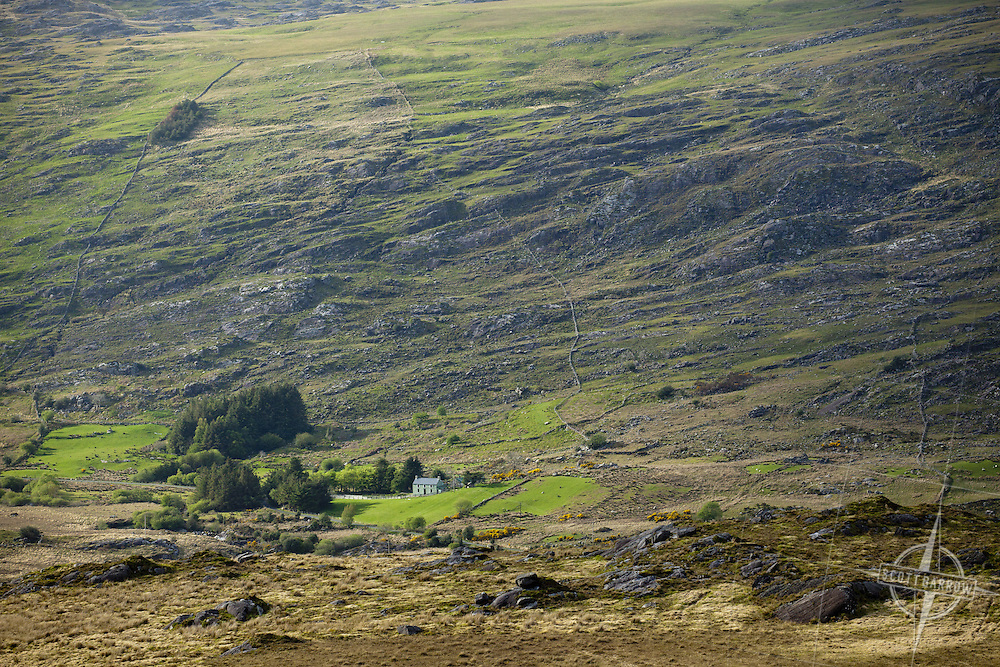View from the Beara Way and Caha Pass. Ireland of a secluded home.