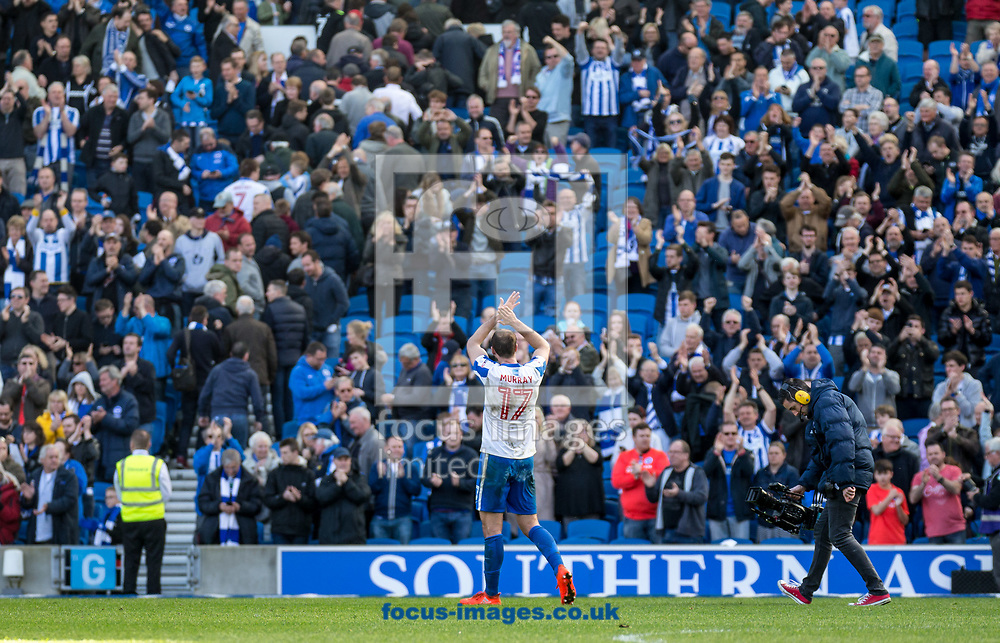 Glenn Murray of Brighton &amp; Hove Albion applauds the fans during the Sky Bet Championship match at the American Express Community Stadium, Brighton and Hove<br /> Picture by Liam McAvoy/Focus Images Ltd 07413 543156<br /> 01/04/2017