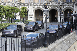 © Licensed to London News Pictures. 22/05/2019. London, UK. Multiple cabinet minister's cars are seen still parked in New Palace Yard in Parliament one hour after the prime minister left after question time. Photo credit: Peter Macdiarmid/LNP