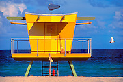 A seagull flies past a post-modern Miami Beach lifeguard stand designed by architect William Lane. <br />