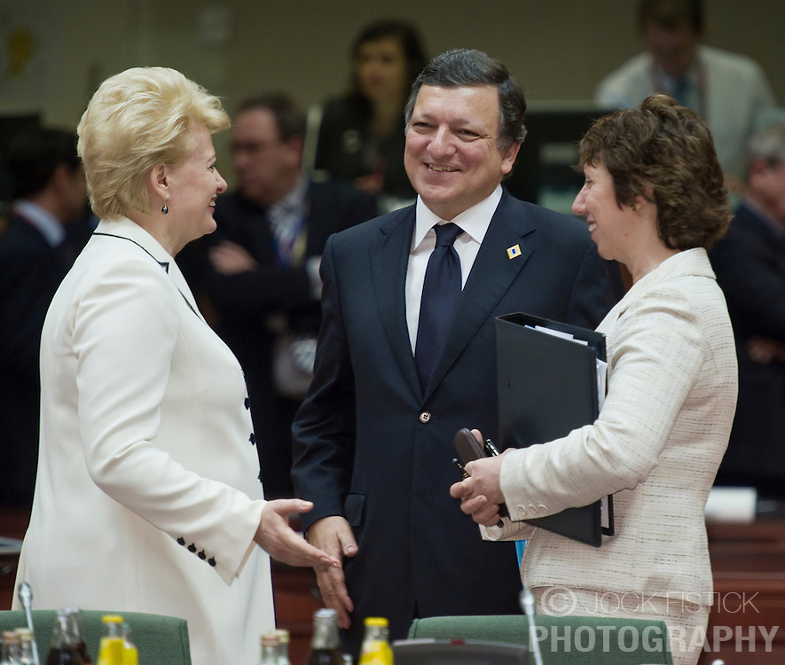 Jose Manuel, Barroso, president of the European Commission, center, speaks with Dalia Grybauskaite, Lithuania's president, left, and Catherine Ashton, the EU's foreign minister, during the European Summit meeting at EU Council headquarters in Brussels, Belgium, on Thursday, June 17, 2010. (Photo © Jock Fistick)