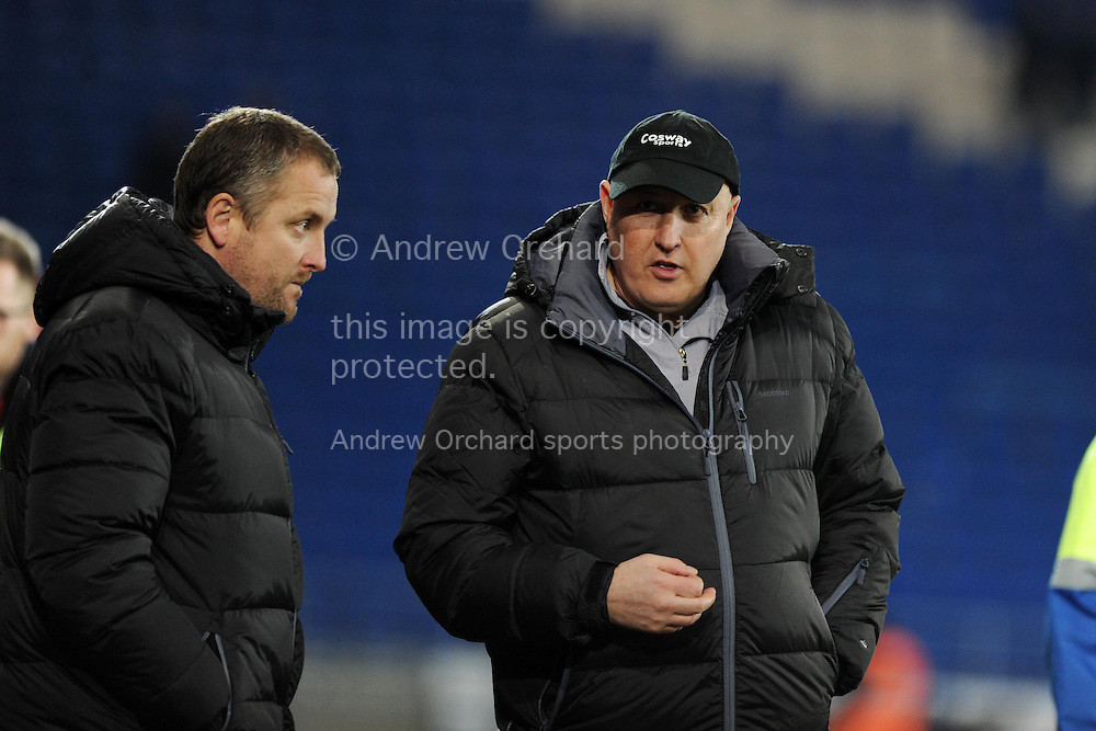 Cardiff city manager Russell Slade looks on dejected at end of the match after his team can only draw 0-0. Skybet football league championship match, Cardiff city v Brighton &amp; Hove Albion at the Cardiff city Stadium in Cardiff, South Wales on Tuesday 10th Feb 2015.<br /> pic by Andrew Orchard, Andrew Orchard sports photography.