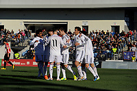 Real Madrid Castilla´s Varela, Noblejas, Derik, Llorente, Torrio, Alvaro, Aguiza, Narvaez, Javi Munoz and Burgui celebrates a goal during 2014-15 Spanish Second Division match between Real Madrid Castilla and Athletic Club B at Alfredo Di Stefano stadium in Madrid, Spain. February 08, 2015. (ALTERPHOTOS/Luis Fernandez)