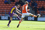 Kyle Storer and Brad Potts during the EFL Sky Bet League 2 match between Blackpool and Cheltenham Town at Bloomfield Road, Blackpool, England on 22 April 2017. Photo by Antony Thompson.