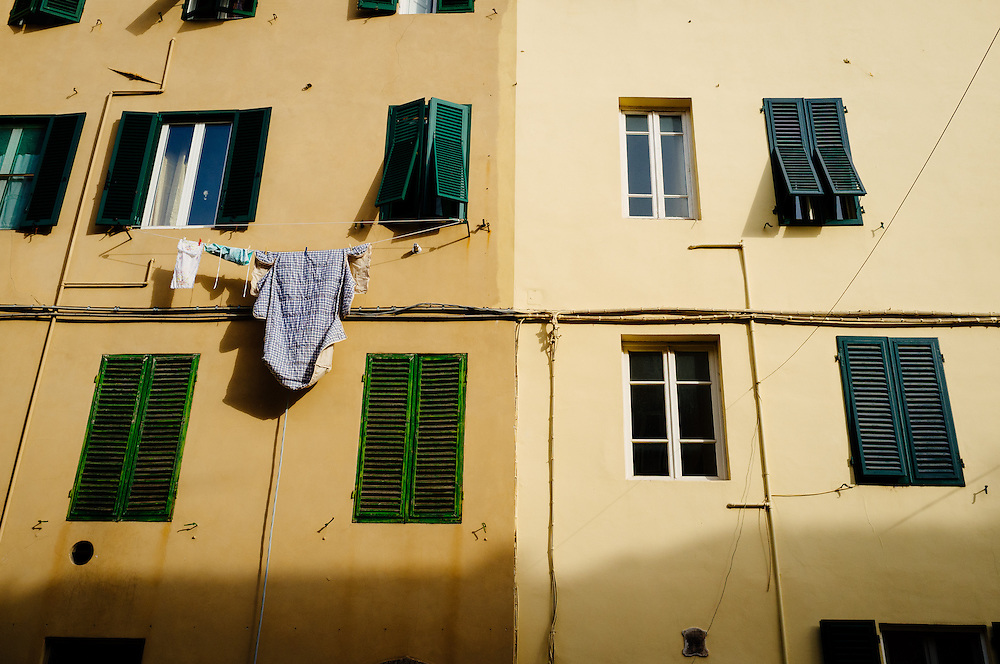 Washing hanging in Lucca, Italy