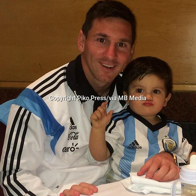 Fifa Soccer World Cup - Brazil 2014 - <br /> ARGENTINA, family day party at the training camp in Cidade do Galo -  Belo Horizonte - Brazil (BRA) - 22 Jun 2014 <br /> Argentine players, upload to Internet their own pictures form the group<br /> Here Lionel Messi with his sin THIAGO<br /> &copy; PikoPress