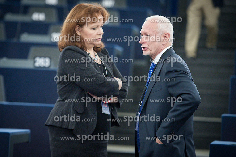 Polish MEP Michal Boni (R) and Member of European Parliament Barbara Kudrycka attend the second day of plenary session at the European Parliament headquarters in Strasbourg, France on 02.07.2014. EXPA Pictures &copy; 2014, PhotoCredit: EXPA/ Photoshot/ Wiktor Dabkowski<br /> <br /> *****ATTENTION - for AUT, SLO, CRO, SRB, BIH, MAZ only*****