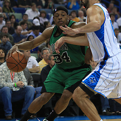 11 February 2009: Boston Celtics forward Paul Pierce (34) drives past New Orleans Hornets forward Peja Stojakovic (16) during a NBA game between the Boston Celtics and the New Orleans Hornets at the New Orleans Arena in New Orleans, LA.