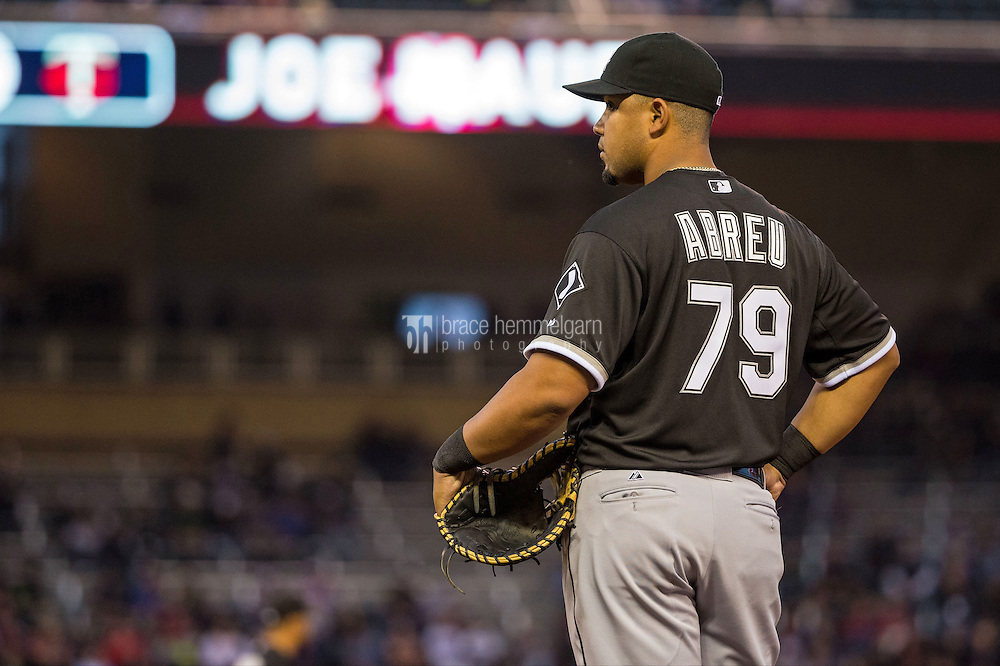 MINNEAPOLIS, MN- MAY 01: Jose Abreu #79 of the Chicago White Sox looks on against the Minnesota Twins on May 1, 2015 at Target Field in Minneapolis, Minnesota. The Twins defeated the White Sox 1-0. (Photo by Brace Hemmelgarn) *** Local Caption *** Jose Abreu