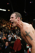 Joe Calzaghe celebrates his victory. Joe Calzaghe beats Bernard Hopkins by split decision to claim The Ring Light Heavyweight Title. Las Vegas, Nevada, 19th April 2008.
