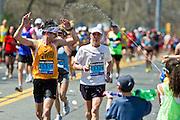 04/16/2012 - Natick, Mass. -  Joe Lessard of the Tufts Marathon Team at Mile 9 of the Boston Marathon on Monday, April 16, 2012.   (Alonso Nichols/Tufts University)