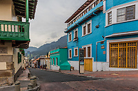 Bogota , Colombia  - February 23, 2017 : colorful Streets  in La Candelaria area Bogota capital city of Colombia South America