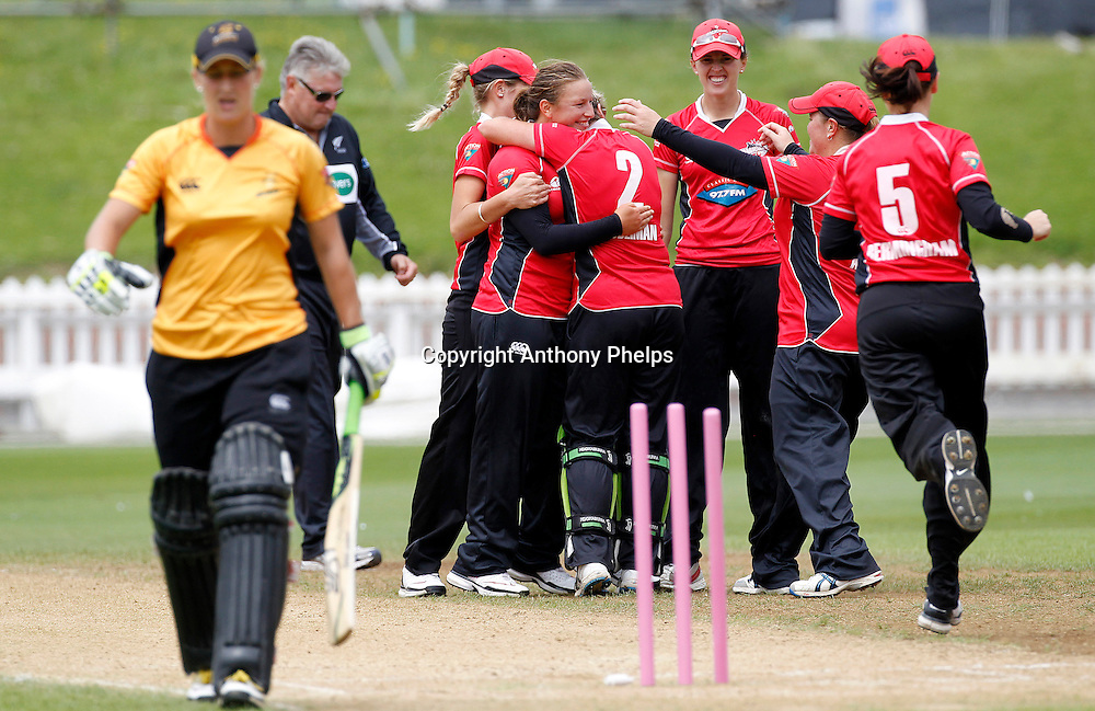 Canterbury's Magicians celebrate Sophie Devine's wicket, Action Cricket Twenty20 Final, Blaze v Magicians. Basin Reserve, Wellington. Saturday 5 February 2011. Photo: Anthony Phelps/PHOTOSPORT