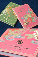Goshuin-cho (pilgrimage stamp books) for Hawaii Izumo Saisha in Honolulu, Hawaii. These books are designed exclusively for the shrine and available to purchase only at the shrine.