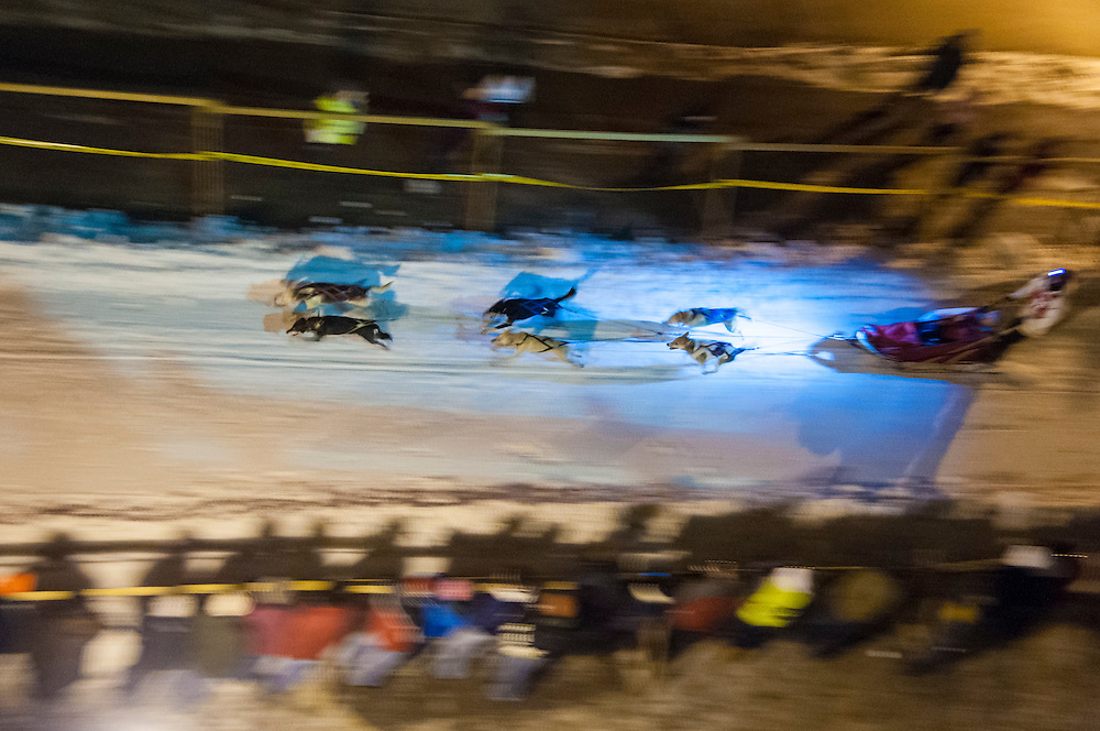 Scenes from the start of the UP 200 and Midnight Run sled dog race in downtown Marquette, Michigan.