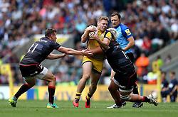 Luke Baldwin of Worcester Warriors is tackled - Mandatory by-line: Robbie Stephenson/JMP - 03/09/2016 - RUGBY - Twickenham - London, England - Saracens v Worcester Warriors - Aviva Premiership London Double Header