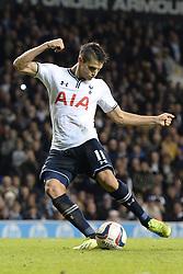Tottenham's Erik Lamela misses a penalty - Photo mandatory by-line: Mitchell Gunn/JMP - Tel: Mobile: 07966 386802 30/10/2013 - SPORT - FOOTBALL - White Hart Lane - London - Tottenham Hotspur v Hull City - Capital One Cup - Forth Round