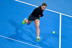 DOHA, Feb. 15, 2019  Simona Halep of Romania hits a return during the women's singles quarterfinal between Simona Halep of Romania and Julia Goerges of Germany at the 2019 WTA Qatar Open in Doha, Qatar, Feb. 14, 2019. Simona Halep won 2-0. (Credit Image: © Nikku/Xinhua via ZUMA Wire)