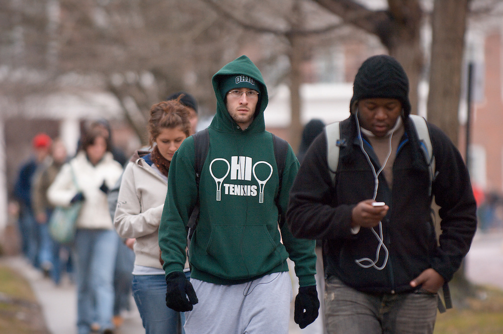 18532Students walking on campus in winter...Marques Wilson
