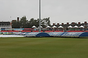 Covers on and drizzle in the air for Day 3 of the Specsavers County Champ Div 2 match between Leicestershire County Cricket Club and Middlesex County Cricket Club at the Fischer County Ground, Grace Road, Leicester, United Kingdom on 12 June 2019.